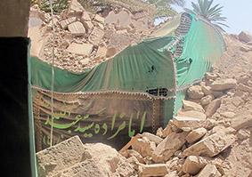 تخریب امامزاده سید عبدالله در نارتیچ بم در سکوت کامل مسؤلین و مردم